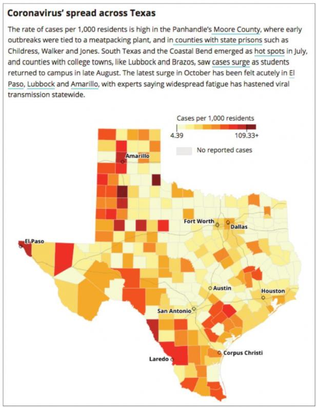 All of Texas' 254 counties have now reported at least one Covid-19 case