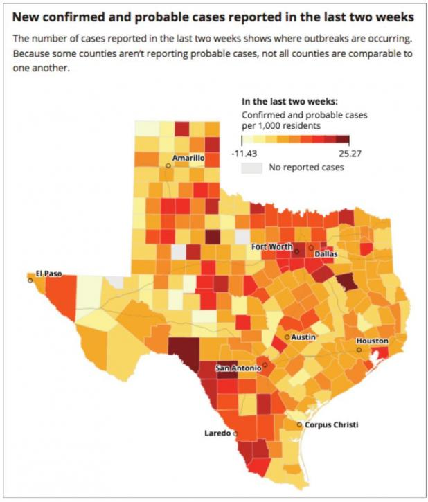 Twenty percent of hospital beds in Texas occupied by Covid-19 patients