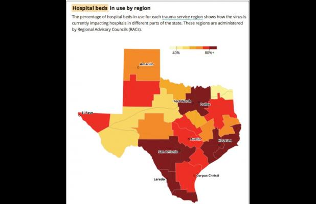 Texas reports nearly 100 new deaths from COVID as people hospitalized surpasses 9,600